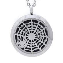 Top Quality Crystal Flowers 30mm Aromatherapy Essential Oils Locket Pendant Stainless Steel Perfume Diffuser Necklace