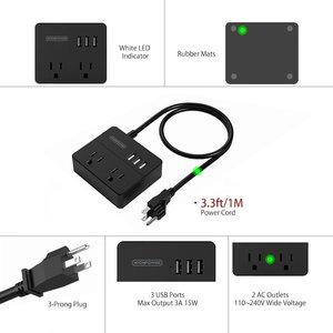 Image 3 - NTONPOWER OSP seyahat abd elektrik fişi prizleri Mini ve taşınabilir 2 AC çıkışı 3 USB şarj portları ile 3 ayak/1M güç kablosu