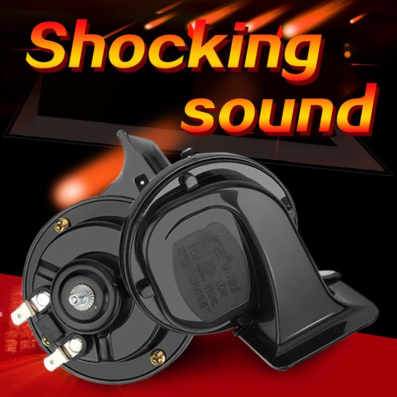 12V Waterproof Car Horn Universal Snail air horn High And Low Pressure Horn Speaker 130db for car motorcycle truck jcaa snail shaped diy motorcycle ultra loud electronic horn speaker silver
