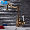 Vintage Brass Color Cold And Hot Kitchen Water Tap Classic European Brass Kitchen Tap Mixer 360