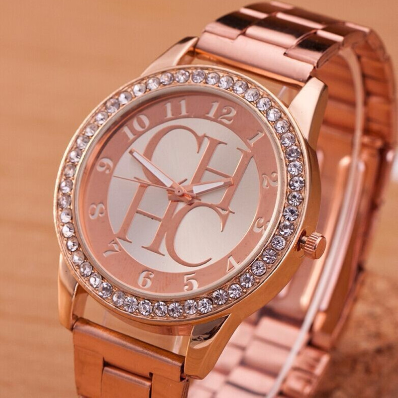 2018 Hot Sale Newest High Quality CH Women Sport Quartz Watch Fashion Rose Gold Stainless Steel Lady Rhinestone Digital Watch