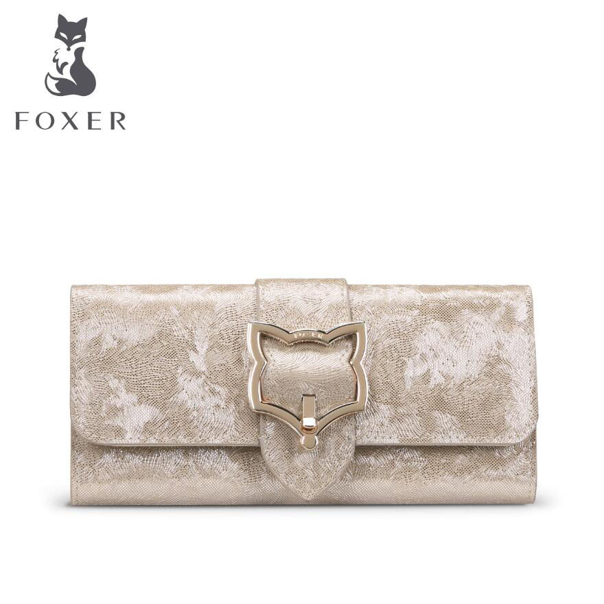 FOXER New women leather bag brands fashion Superior cowhide Buckle wallet women purse fashion long women wallets foxer women bag 2016 new cow leather handbag fashion long wallet banquet hand bag