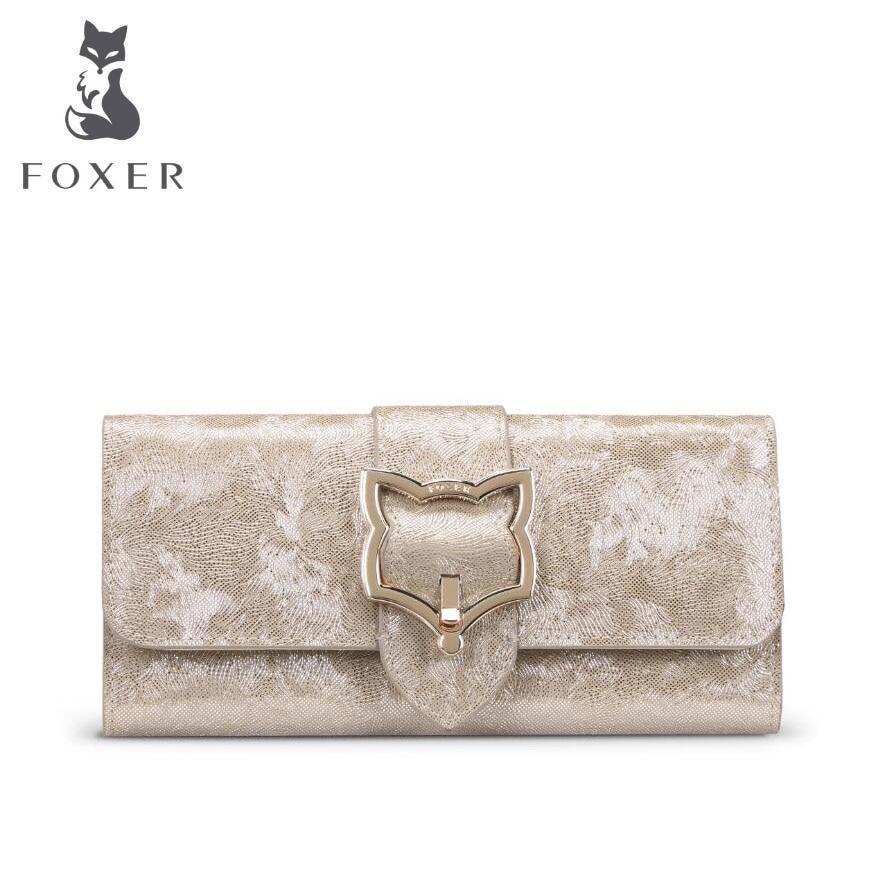 FOXER New women leather bag brands fashion Superior cowhide Buckle wallet women purse fashion long women wallets foxer women bag 2016 new cow leather handbag fashion long wallet banquet hand bag