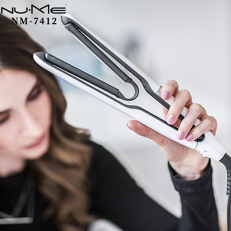 NuMe Flat Iron Air Plate Ceramic Hair Straightener Professional Curling Straightening Iron Hair Curler Roller Styling Tool Salon