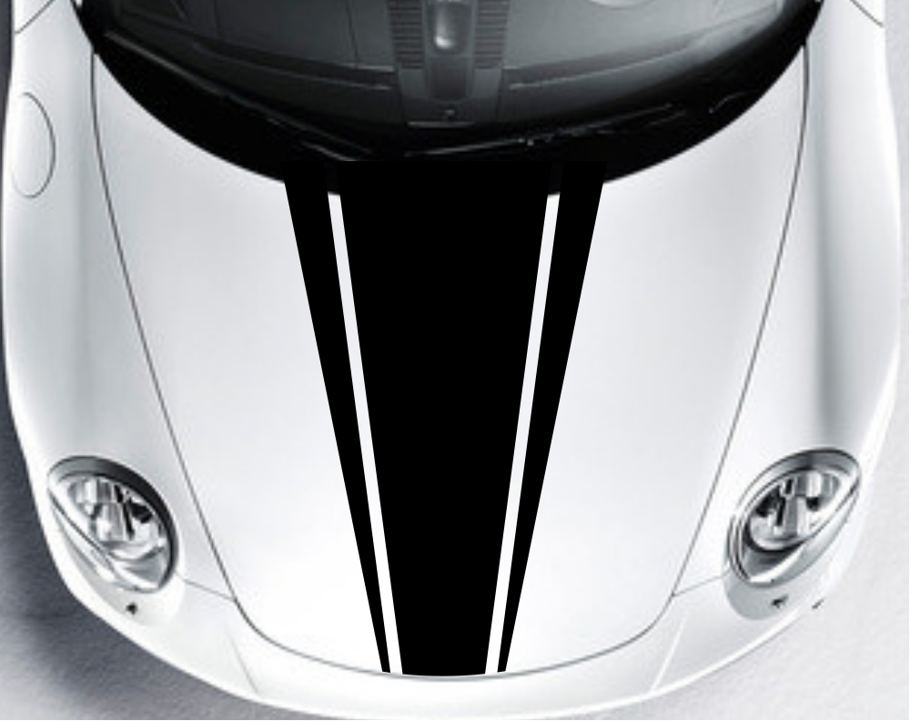 Car Dual Racing Stripe Hood Decals Vinyl Graphics Bonnet Stickers - Graphics for car bonnets