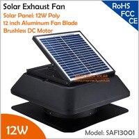 Bürstenlosen Motor Einstellbare Solar Panel 12 watt 12 ''Solar Auspuff Fan mit kabel schalter belüftung fan Bereitstellung 1955CMH Luft fluss
