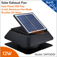 Brushless Motor Adjustable Solar Panel 12W 12'' Solar Exhaust Fan with cable switch ventilation fan Providing 1955CMH Air Flow