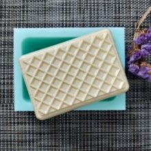 QT0143 PRZY Waffle Silicone Mold Mesh SOAP Mould Handmade Soap Making Candle Resin Clay
