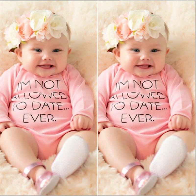 15e1e7d5c9d Baby Fashion Rompers Cotton Letter Full Sleeve Infant Toddler Baby Girl  Romper Summer Newborn Baby Clothing
