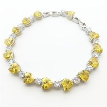 2017! New Style Teardrop-shaped & Heart Wholesale Jewelry Gold yellow Quartz Zircon Silver Filled Bracelet