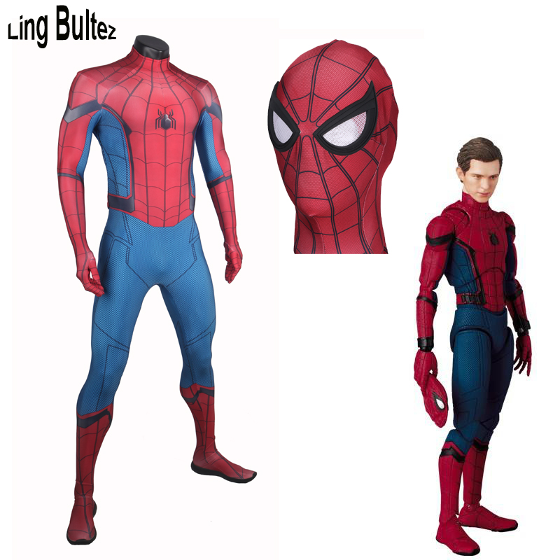 Ling Bultez High Quality 2017 Spiderman Costume New Homecoming Spiderman Suit New Tom Spiderman Costume 3D Print Homecoming Suit
