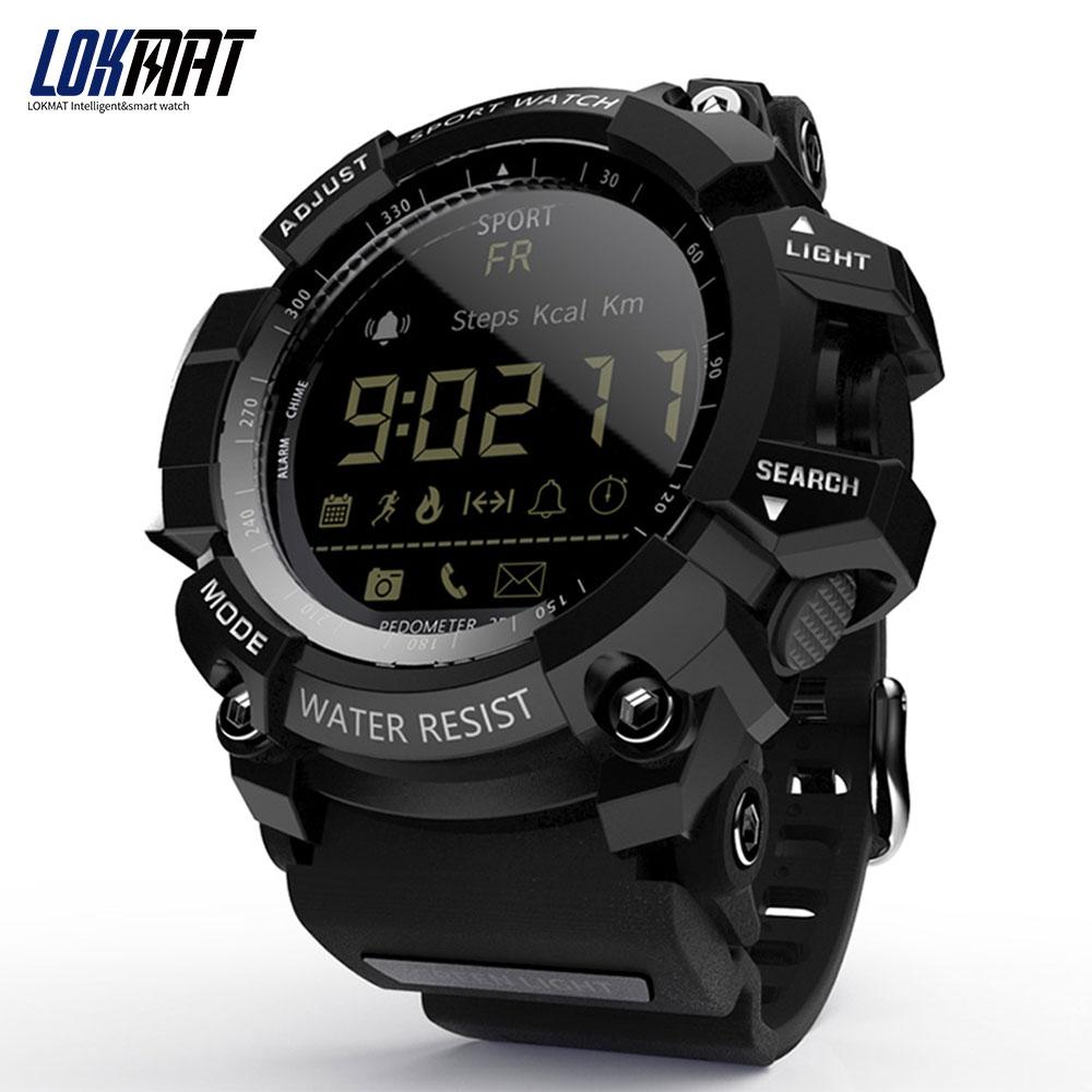 LOKMAT блютуз Смарт часы мужчины водонепроницаемый IP68 Шагомер Спорта цифровой Relogio Masculino smartwatch Для Android Телефона