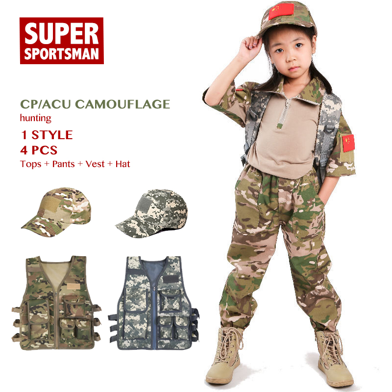 4227dd334f9 US $14.98 50% OFF|Children Camouflage Sniper Vest Hunting Clothes Kids Army  Tactical Uniform Boys Girls Woodland Ghillie Suit Jungle Clothing Sets-in  ...