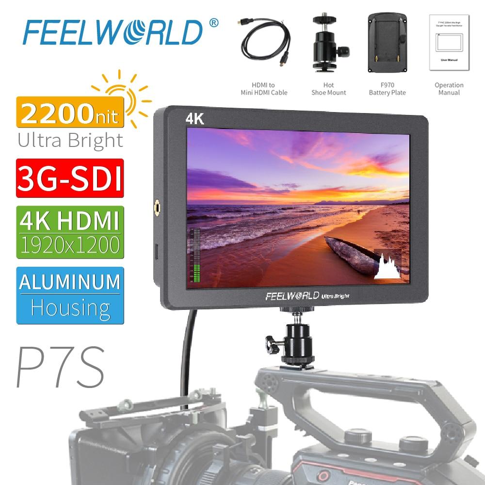 FEELWORLD P7S 7 pouces 2200nit Ultra lumineux 3G-SDI sur le champ de l'appareil photo DSLR moniteur professionnel pour Sony Nikon Canon vidéaste