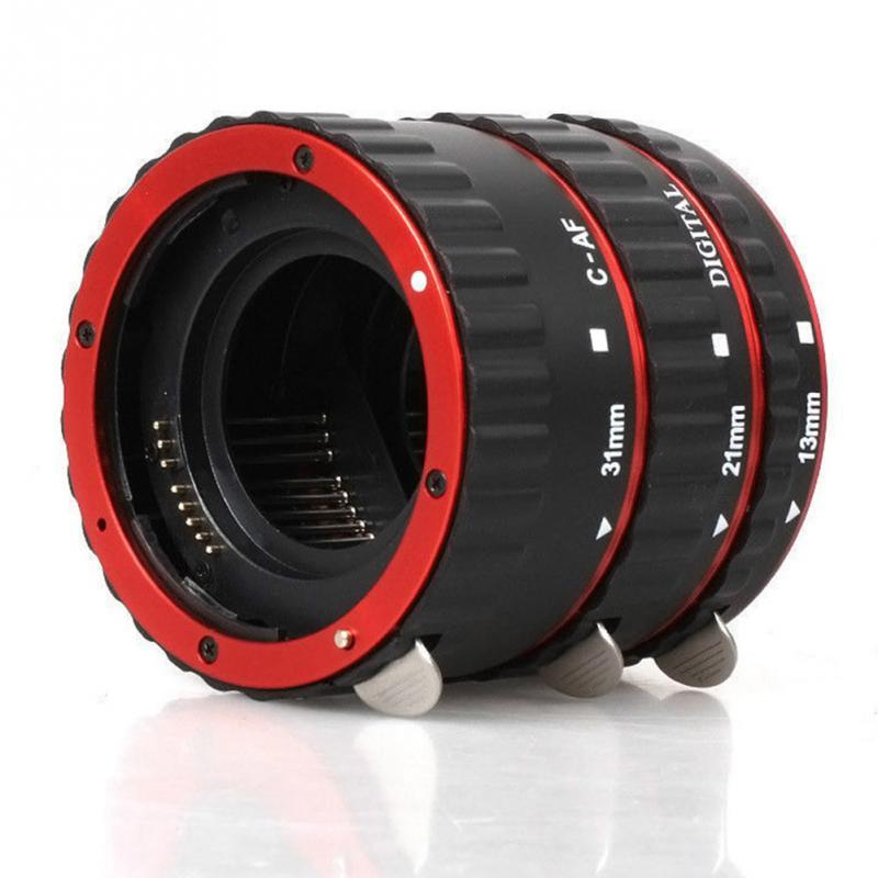 Rouge metal mount autofocus af macro extension tube/anneau pour canon ef-s lentille T5i T4i T3i T2i 100D 60D 70D 550D 600D 6D 7D