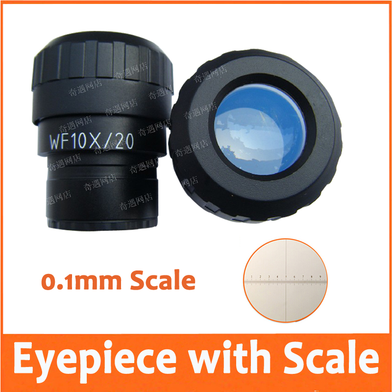 ФОТО 1PC WF10X/20mm Adjustable Zoom Wide Angle Eyepiece Lens for Stereo Microscope with Mounting Size 30mm and Reading Scale 0.1MM