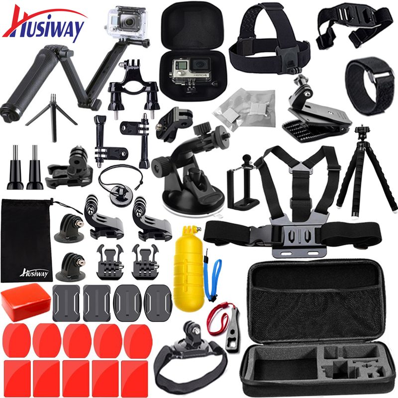 Husiway Accessories kit for Gopro Hero 7 6 5 Black Hero 4 3 Session Set Mount for SOOCOO / Akaso / xiaomi 4K for eken h9r 13N цена