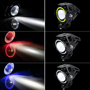 Image 5 - 2PCS 125W Motorcycle Headlight w/ Angel Eye Devil Eye 3000LM moto spotlight U7 LED Driving Fog Spot Head Light Decorative Lamp