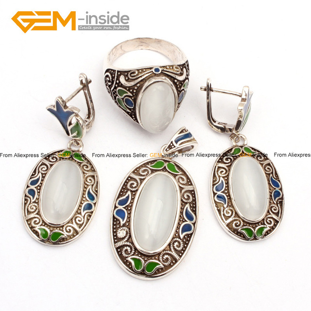 White Cat Eye Cloisonne Antiqued Tibeten Silver Ring Earrings Pendant Jewelry Set Free Shipping Wholesale Gem-inside
