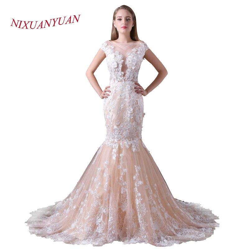 NIXUANYUAN 2018 nouvelle Photo réelle Champagne robe De mariée en Tulle 2017 dentelle sirène haut du corps voir à travers Sexy vestido De noiva