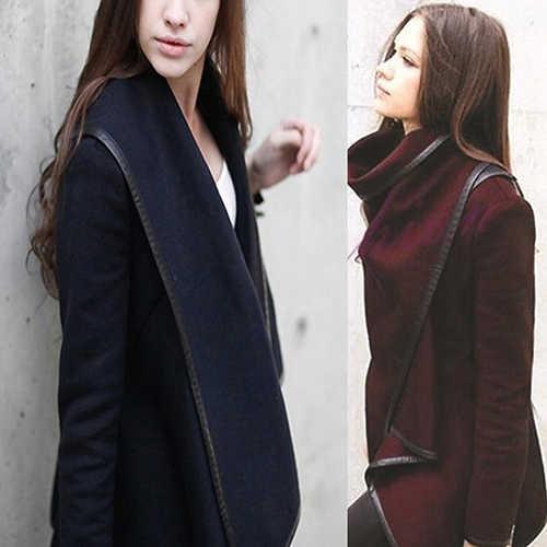 Women Fashion Autumn Asymmetric Irregular Long Sleeve Trench Coat Windbreaker