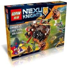 LEPIN 14003 203pcs Nexoe Knights Moltor Lava Smasher Jestro Aaron Minifigures Building Block Figure Compatible Nexus Legoe 70313