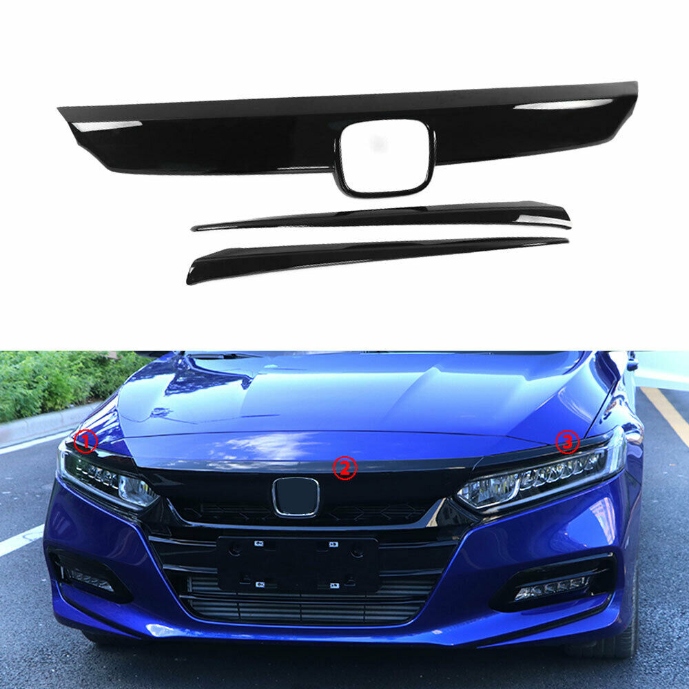 For Honda Accord 2018 Car Front Hood Bumper Lid Bonnet Grille Cover Trim Glossy Black