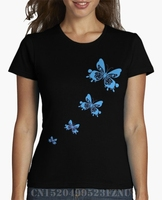 Spring Summer On Sale T Shirts Women S Blue Butterflies Short Letter Cotton Design High Quality