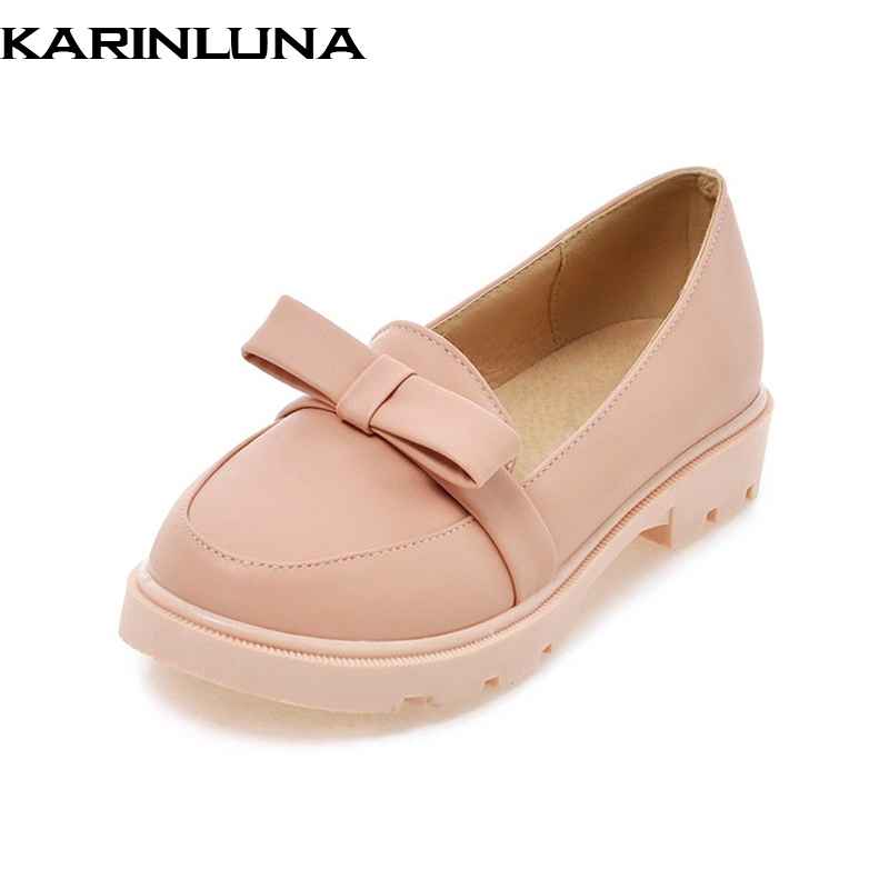 Karinluna New women's Flat Solid Round Toe slip-on Bowtie Shoes Woman Casual Sweet Spring Summer Flats Big Size 32-43 baijiami 2017 new children solid breathable slip on pu casual shoes boys and girls spring summer autumn flat bottom shoes