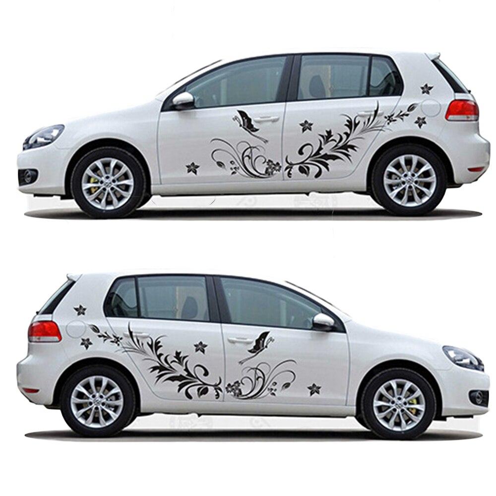 Voiture carrosserie autocollants pour voitures fleur naturelle vigne libellule forme entier stickers vinyle autocollant voiture style 1 set auto accessoires