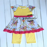 Beautiful Printing Hot Boutique Baby Girl Clothes Resell Hot Sale Summer Dress