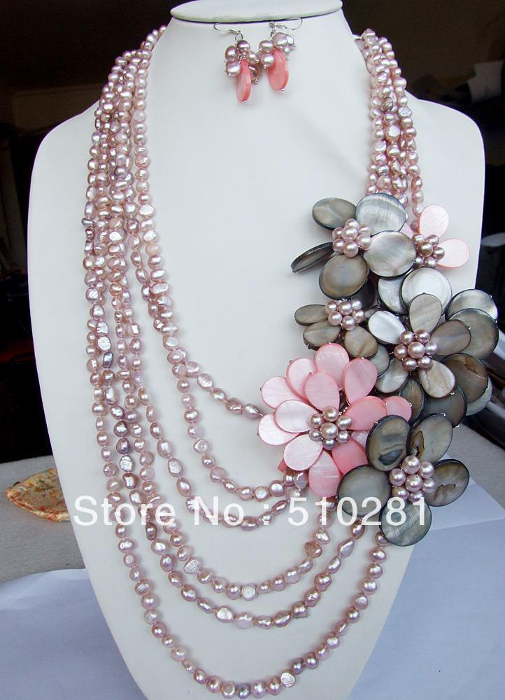 ¡Joyería Madre de la flor de la cáscara! Collar de cadena de perlas rosa de 6 hebras-in Collares tipo gargantilla from Joyería y accesorios    1