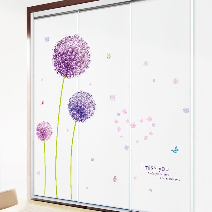 Graceful Purple Lily Dandelion Wall Stickers Fly For Kids Living Room Bedroom TV Wall Decor Adesivo De Parede Poster