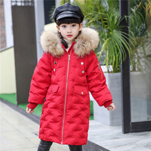 white duck down kids winter jacket for girl thick long boy snowsuit down padded girls boys winter coat with fur hood clothing