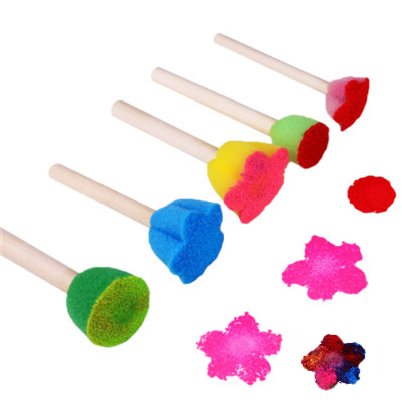 4Pcs/Set Baby Sponge Painting Brush Kid Plastic Handle EVA Seal Drawing Tool For School Stationery DIY Graffiti Paint Roller Toy