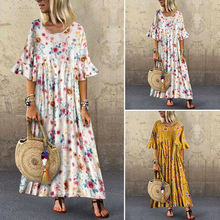 Women Round Neck Short Sleeve T-Shirt Dress Floral Print Long Shirt Dress Plus цена 2017