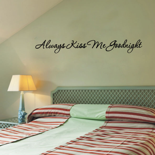 Free shipping: Love Always Kiss Me Goodnight Wall Decal Quote Sticker Vinyl Art Lettering wall stikcers