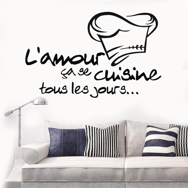 French Cuisine L Amour Wall Stickers For Kitchen Vinyl Decals Mural Muur Art Keuken Tegel Home Decor Huis Decoratie