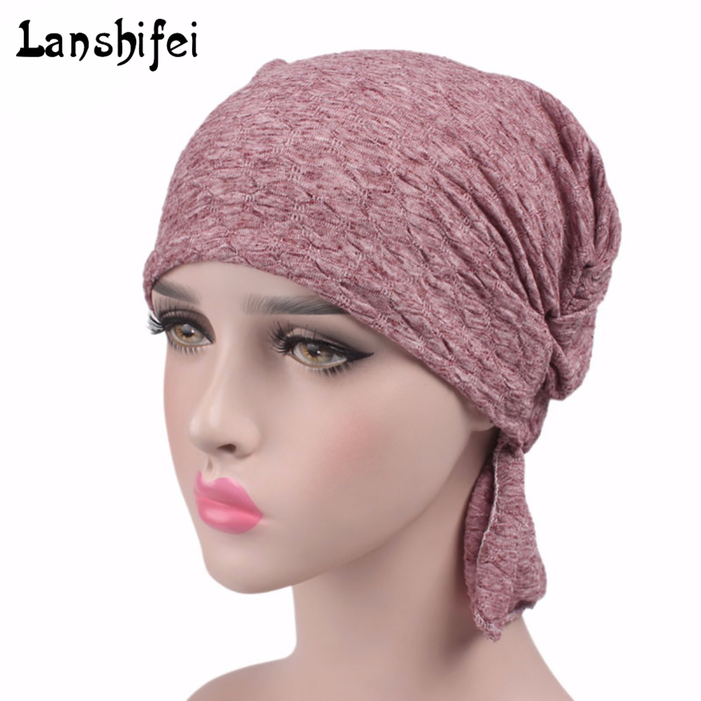NEW Breathable Women's Bubble Cotton Kerchief Chemo Hat Beanie Turban Head cap Headwear for Cancer Patients Muslim solid color new cotton slouchy wrinkle cap double flower floral beanie hats for cancer chemo patients