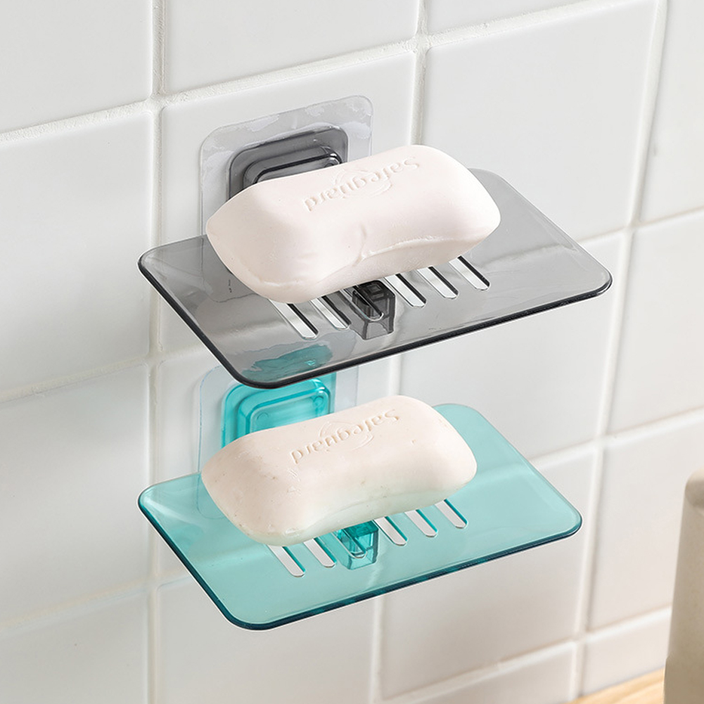 Bathroom Shower Soap Dishes Drain Sponge Holder Wall Mounted Storage Rack Soap Box Organizer Container