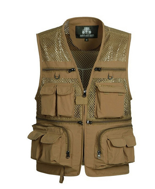 Versatile Photographer Men Vest Quick-drying Mesh Vest Men Gilet Sleeveless Jackets With Many Pockets Plus Size M-4XL
