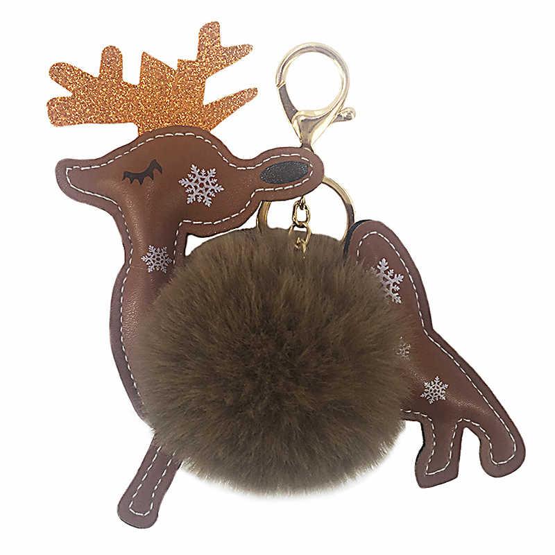 Anel de chave de carro chaveiro de couro de coelho artificial bonito fofo rena chaveiro bola pom pom pom chaveiro natal veados saco de animais encantos trinket