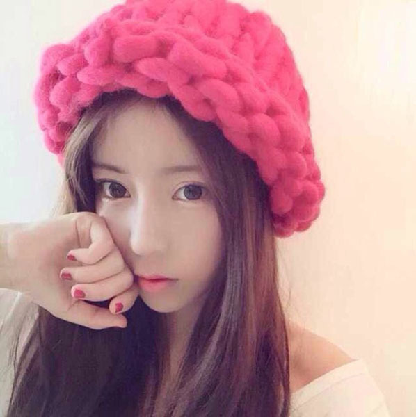 016 Solid Adult Casual Cotton Acrylic Rushed New Fashion Female Winter Hats Hand Coarse Knitted Hat For Women Beanies