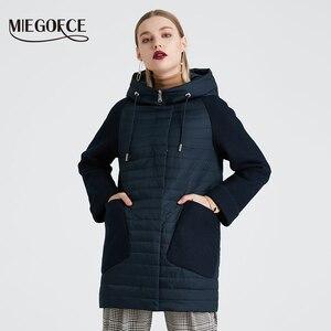 Image 2 - Miegofce 2020 nova coleção feminina primavera casaco elegante com capuz remendo bolsos dupla proteção contra vento parka