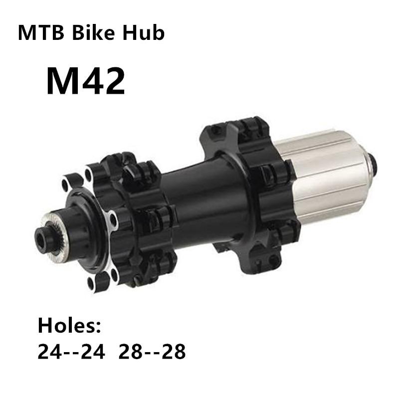 Moyeux de VTT frein à disque vtt 24 trous ou 28 trous moyeu noir à travers le moyeu 15mm x 100 à travers l'essieu 12mm x 142mm à travers l'alxe