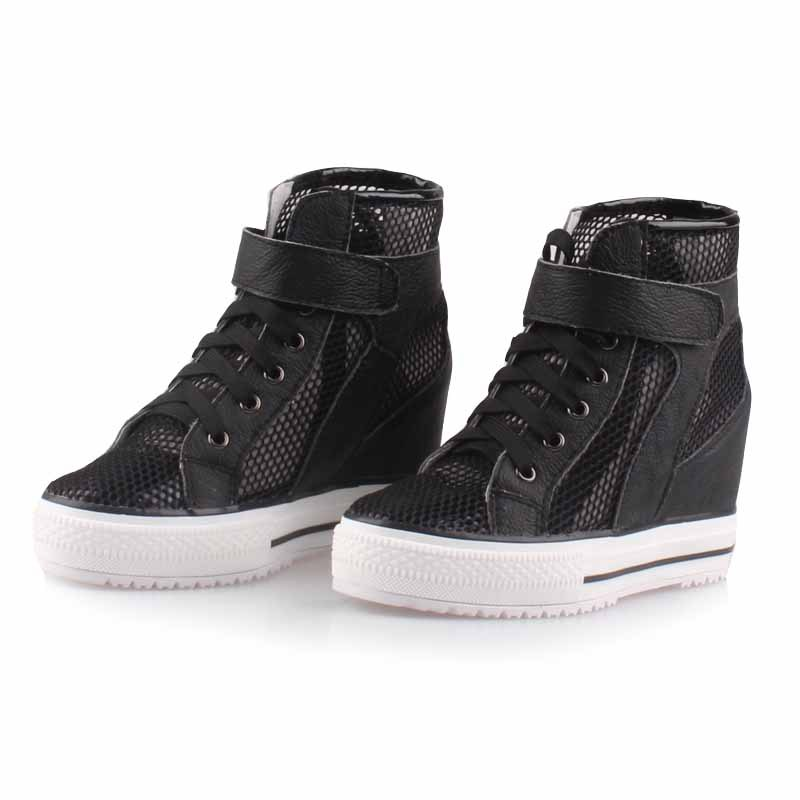 2017 top fashion female elevator hidden wedges high heels shoes platform casual ladies lace up breathable boots Comfortable shoe fashion women elevator candy color breathable canvas high platform denim lace up casual shoes height increasing wedges shoes