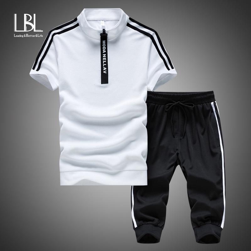 Мужская спортивная одежда из полиэстера, летний пляжный костюм с коротким рукавом, комплект из 2 предметов: шорты + штаны, спортивный костюм, ...