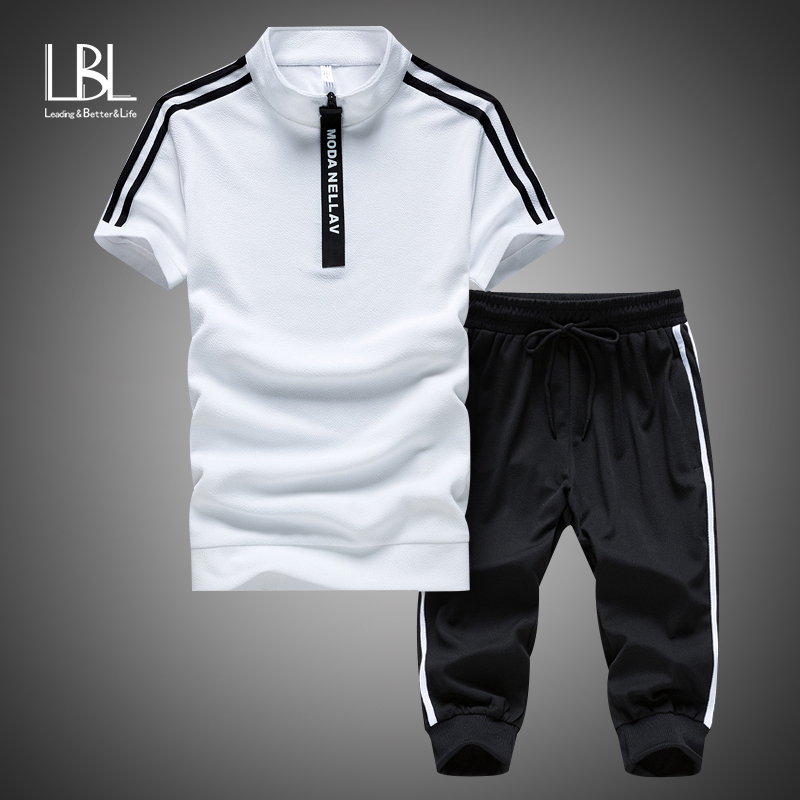 Mens Polyester Sportswear Summer Beach Suits Short Sleeve 2 Piece Shorts Set Men Sweatsuit+Pants Tracksuit Mens Sportsuits Sets