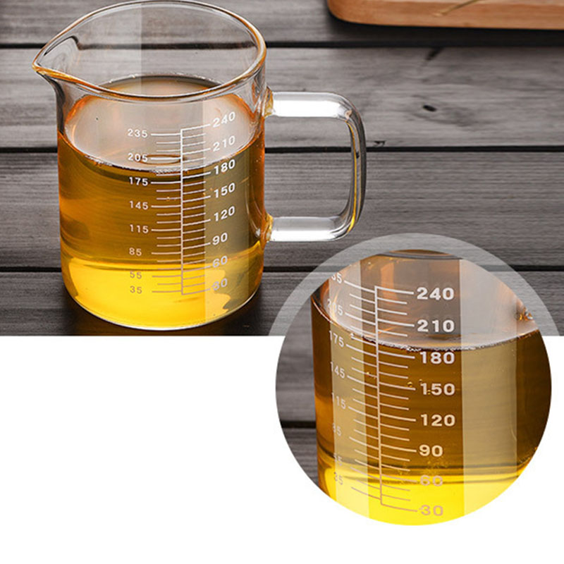 Large Capacity Glass Measuring Cup Round Transparent Food Grade Borosilicate