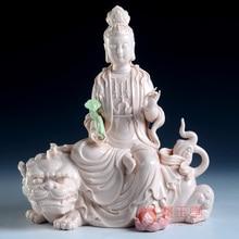 Dai Yutang Wen Shupu Yin bodhisattva statues ornaments 10 inch porcelain of Dehua ceramic arts and crafts/D01-051 цены